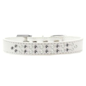 Two Row Pearl and Clear Crystal Size 16 White Dog Collar