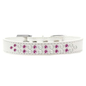Two Row Pearl and Pink Crystal Size 16 White Dog Collar