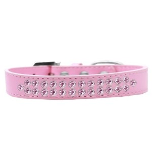 Two Row Light Pink Crystal Size 16 Light Pink Dog Collar