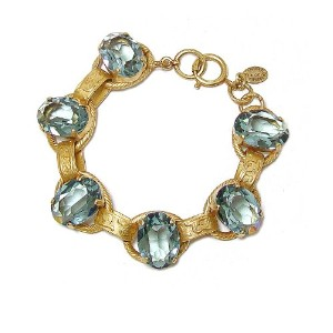 Catherine PopescoゴールドメッキLarge Oval Faceted Indian Blue Swarovski Crystalsチャンキーリンクブレスレット
