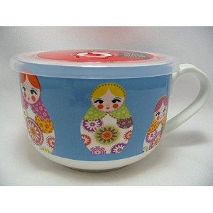 Russian Dolls Ciroa Microwaveme Fine Porcelain電子レンジスープボウル5with silicone seal lid