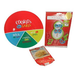 3 PC雪だるまCookies for Santa bundle- Sugar Cookie Mix ,プラスチックCookies for Santaプレートと8pc 3d Snowman...