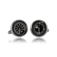 Salutto速度計燃料ゲージSilver Cufflinks with aギフトボックス