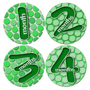 GREEN BUBBLE POLKA DOTS PATRICKS Baby Month By Month Stickers - Baby Month Onesie Stickers Baby...