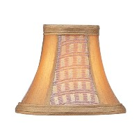 Livex Lighting S110 Bell Clip Chandelier Shade with Corn Silk Fringe, Gold Panel Silk by Livex...