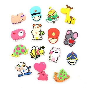 Zicome Set of 15 Colorful Cartoon Refrigerator Magnets - Assorted Shapes and Colors by ZICOME