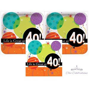 Life Is Great At 40- 40th誕生日プレート、ナプキンパーティーキットfor 16