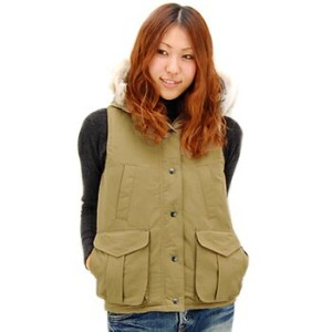 【FW】ミューザ レディース HOODED 4POCKET VEST WITH DOWN LINING&DETACHABLE FUR TRIMMING[NMSU1152]