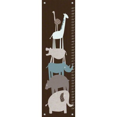 Oopsy Daisy Animal Pile Up Teal Vicky Barone Growth Charts, Brown, 12 x 42 by Oopsy Daisy