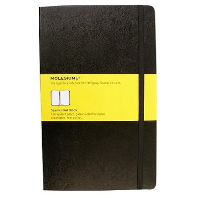 Moleskine Classic Hard Cover Notebooks black, graph 8.9cm x 14cm 192 pages [PACK OF 2 ]