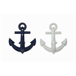Set of Two Nautical Metal Anchor Wall Hooks -Navy Blue and White by Creative Co-op