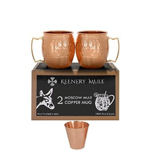 The keenery Moscow Mule Mug Set of 2 100 % Pure Copper Freeショットガラス