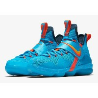 "Nike LeBron 14 XIV GS ""Cocoa Beach"" キッズ/レディース Blue Lagoon/Tour Yellow-Squadron Blue ナイキ バッシュ LeBron..."