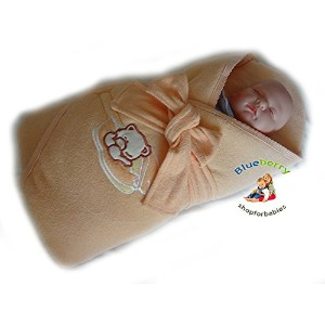 BlueberryShop Jersey Embroidered Swaddle Blanket Wrap for Newborn Baby Stiffened/Hard Back ...