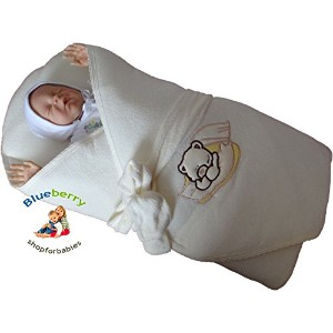 BlueberryShop Thermo Terry Embroidered Swaddle Blanket Newborn Baby Stiffened / Hard Back ...