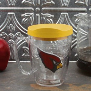 Tervis 1062465 NFL Arizona Cardinalsエンブレム個々Mug withイエロー蓋、16オンス、クリア