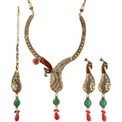 Meenakari Peacock Necklace Set with Faux Ruby and Emerald - Copper Alloy with Cut Glass