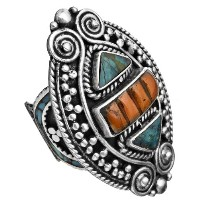Coral and Turquoise Ring from Afghanistan - Sterling Silver