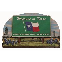 Texas State Welcome Sign Wood Fridge Magnet 2 by Souvenir Destiny