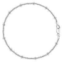 Saturn Style Chain Anklet In Sterling Silver, 9""