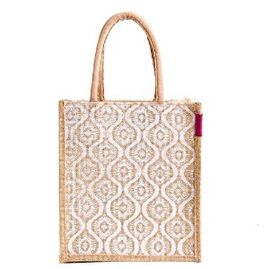 Jute lunch bag Pattern 1,white, Size: 11x9x6 inches