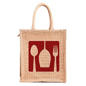 Jute lunch bag ( print :dine2 red, size:11x9x6 inches )