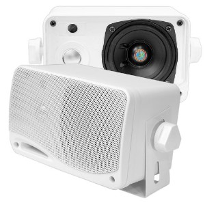 Pyle PLMR24 200W 3.5 inch 3-Way Weather Proof Marine Mini Box Speaker System Pair - White