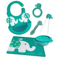 Marcus & Marcus OLLIE THE ELEPHANT Silicone Baby Feeding - Green by Marcus & Marcus