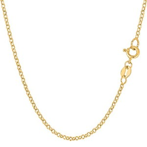 """10k Yellow Gold Round Rolo Link Chain Necklace, 1.9mm, 18"""""""