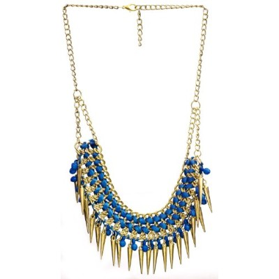 Necklace with Spikes - Brass - Color Blue