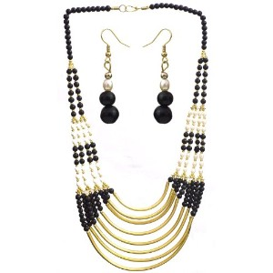 Eight Strand Beaded Necklace with Earrings Set - Brass - Color Faux Pearl Black