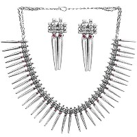 Spikes Necklace with Matching Earrings Set (South Indian Temple Jewelry) - Sterling Silver