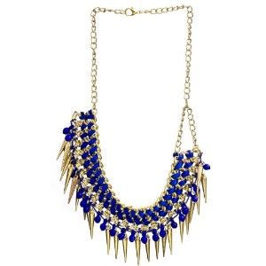 Necklace with Spikes - Brass - Color Dazzling Blue