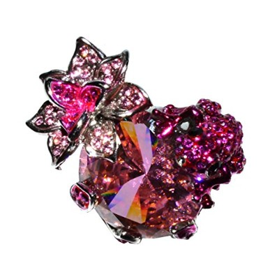 Whimsical Bling Frog and花ラインストーンカクテルリング