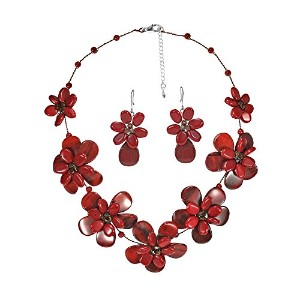 レッドjasper-reconstructed Coral Floral necklace-earringセット