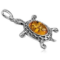 Honey Amber Sterling Silver Turtleペンダント
