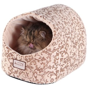 Armarkat Cat Bed with Flower Pattern, Beige by Armarkat