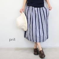 【outlet sale 50%OFF】prit(プリット)50/1 綿麻強撚ストライプギャザー スカート 2colormade in japan71726-f