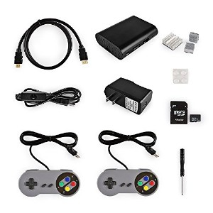 RetroPieゲームコンソールステーションキッ Game Console Station Kit for Raspberry Pi 3 32GB SDカード電源ケースfor Raspberry...