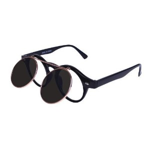 Bristol Novelty Black Steam Punk Flip Up Glasses Costume Accessories - Men's - One Size