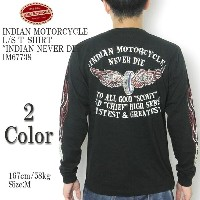 """INDIAN MOTORCYCLE インディアンモーターサイクル L/S T-SHIRT """"INDIAN NEVER DIE""""IM67738"""