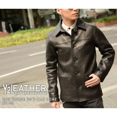 【Y'2 LEATHER/ワイツーレザー】レザーコート/EC-86:ECO HORSE 30'S CAR COAT★REAL DEAL