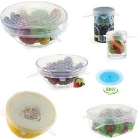 Reusable Silicone Super Stretch Lids - Keeps Food Fresh - Multi-Size Set to Cover All Bowls / Cups ...