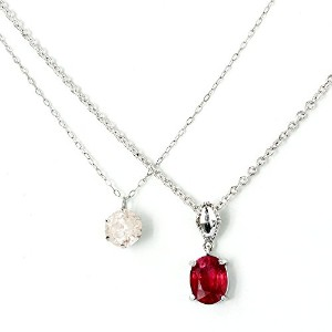 One&Only Jewellery 【鑑別書付】 1ct 天然 ダイヤモンド & 2ct ルビー ネックレス 2点セット