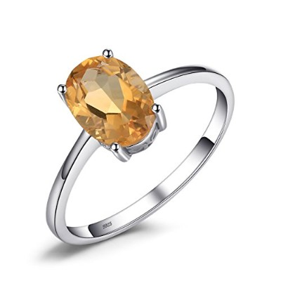 jewelrypalace 1.1CTオーバル天然シトリン誕生石リング925スターリングシルバー