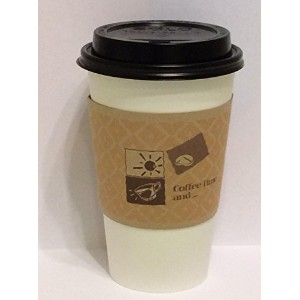 16 Oz. White Hot paper Coffee Cup With Lid And Sleeve-Decony coffe set- 50 sets. by Decony