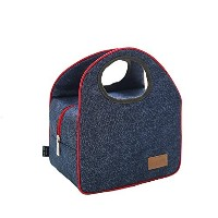 boieoデニムブルーInsulatedランチバッグInsulated Zip Cooler Tote for Working /ピクニック