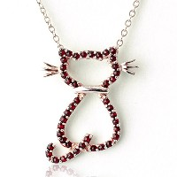One&Only Jewellery 天然 ガーネット キャット ネコ 猫 ネックレス ペンダント K18GP 1月誕生石