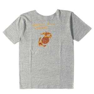 HELLER'S CAFE (ヘラーズカフェ) 16S/S ミリタリープリントTシャツ(NOLET,A.J) 杢グレー 36 【K1659】【あす楽☆対応可】
