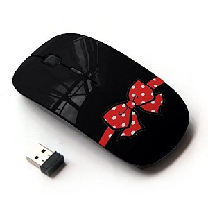 KOOLmouse [ ワイヤレスマウス 2.4Ghz無線光学式マウス ] [ Mouse Red Poke Dot Black Minimalist ]